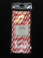 Sugerør papir, Rød 25stk, 19,5cm