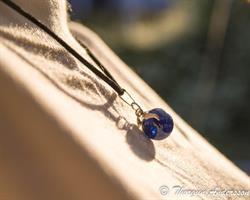 Halsband Glaskula krackelerad Blå