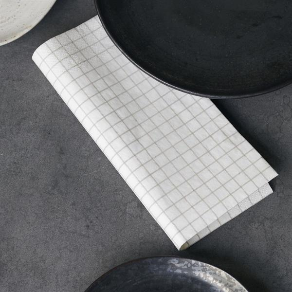 House Doctor Paper Napkin, Check Beige