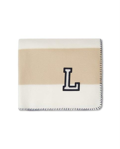 Lexington Block Striped Recycled Polyester Fleece Throw, Beige/White