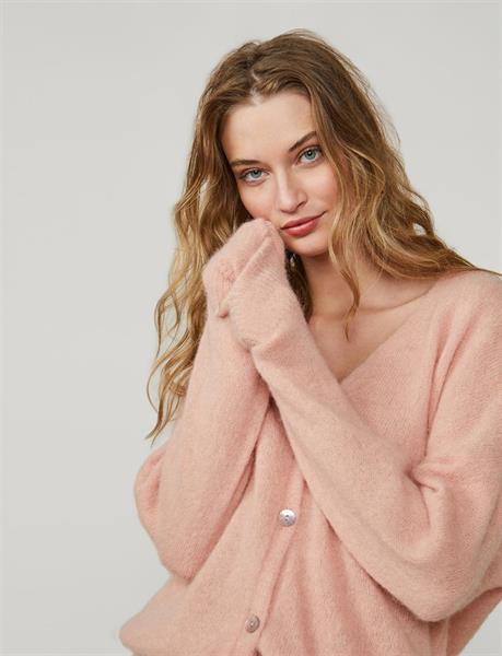 Summum Woman Cardigan Superfine alpaca knit, Dusty Pink