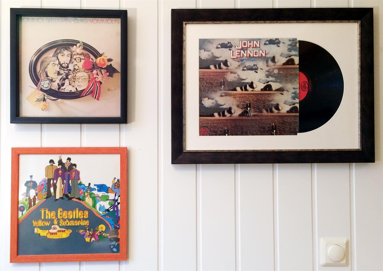 LP-innramming av Greens rammefabrikk: Vømmøl Spellmannslag, The Beatles og John Lennon.