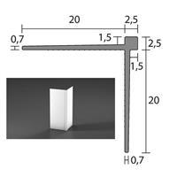 Tapetlist 1,5 mm styv PVC 20x20x2600 mm