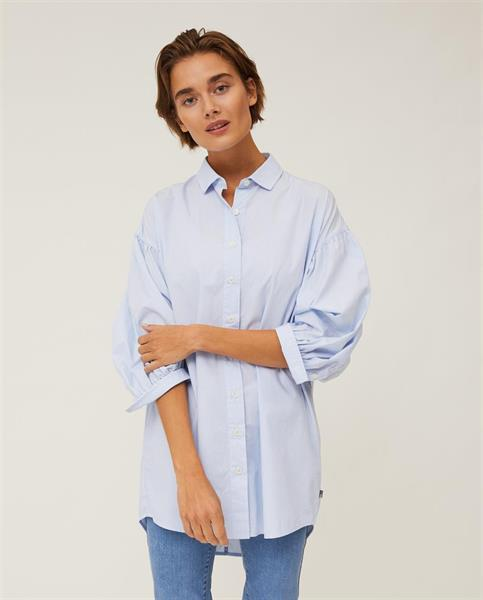 Lexington Maria Long Poplin Shirt, Light Blue/White Stripe