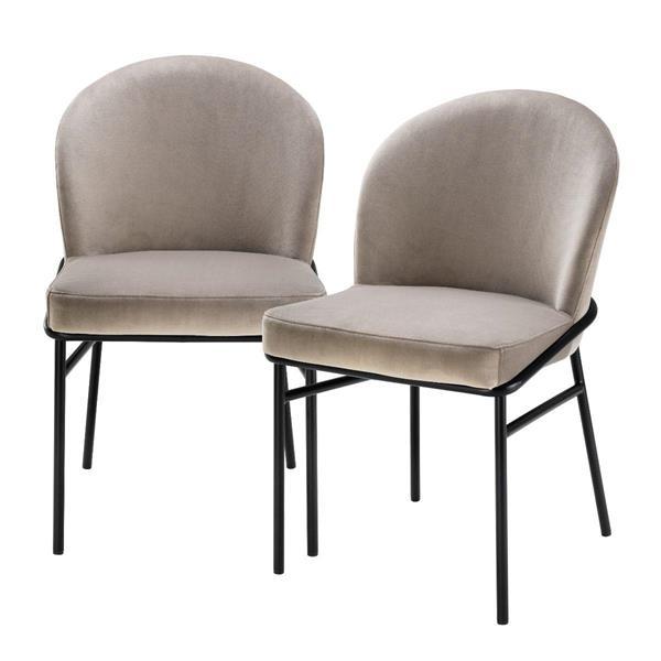 Eichholtz Dining Chair Willis set of 2, Savona Greige Velvet