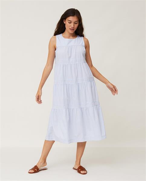 Lexington Sofie Tiered Poplin Dress, Light Blue/White Stripe