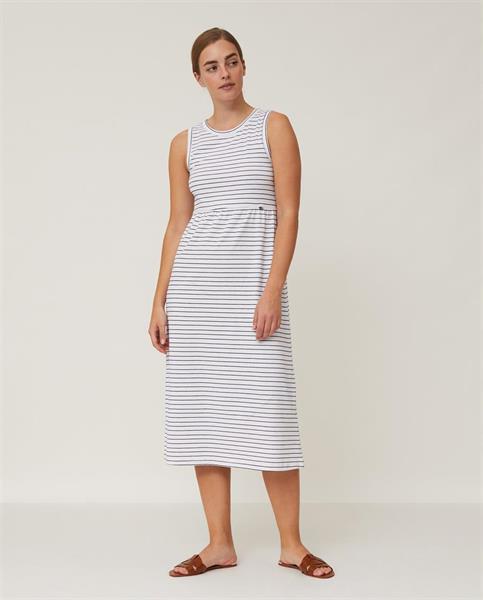 Lexington Nadia Jersey Long Dress, White/Blue Stripe