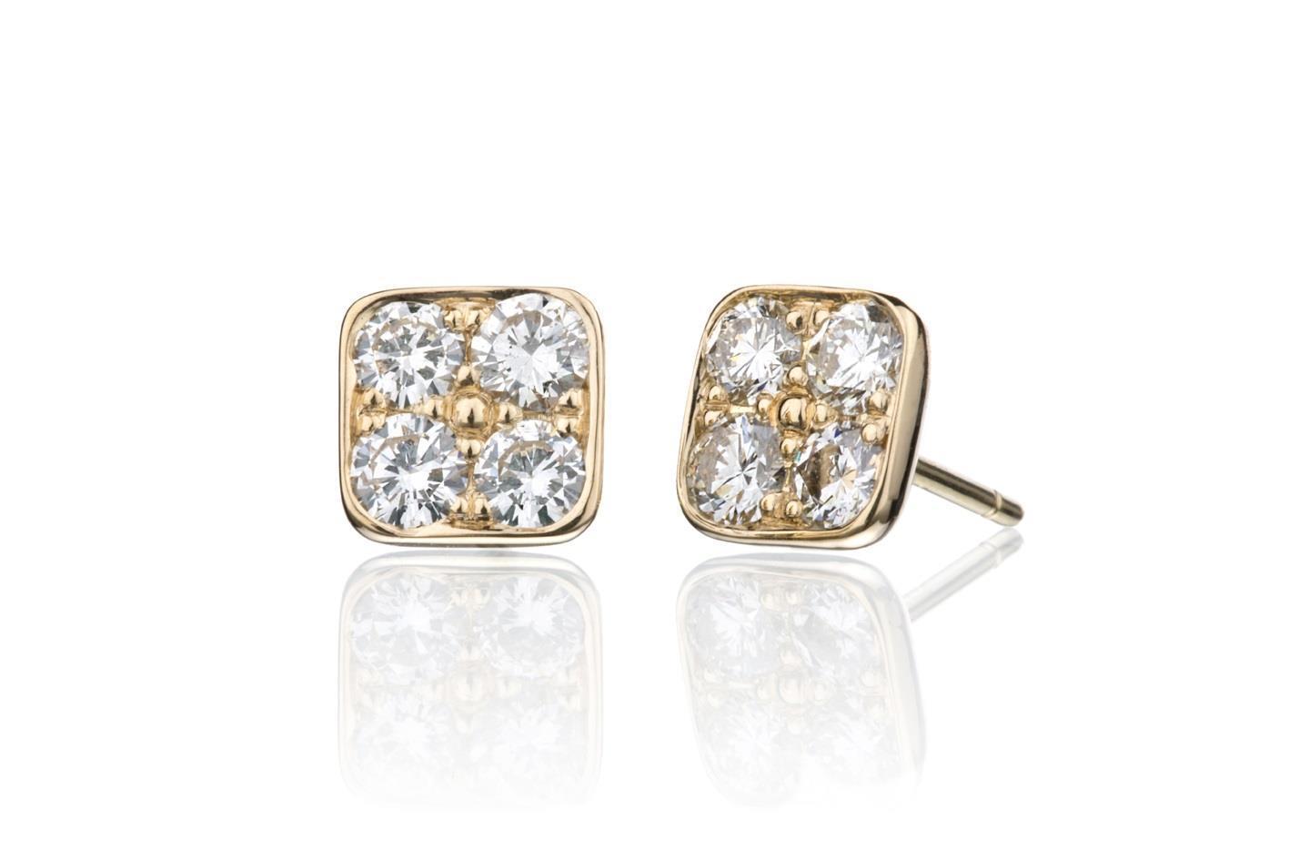 Gul lørepynt med diamanter. Custommade ørepynt. Omsmelting av kundens gull.