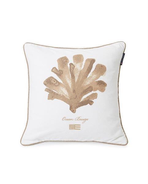 Lexington Ocean Treasures Cotton Twill Pillow Cover, White/Beige