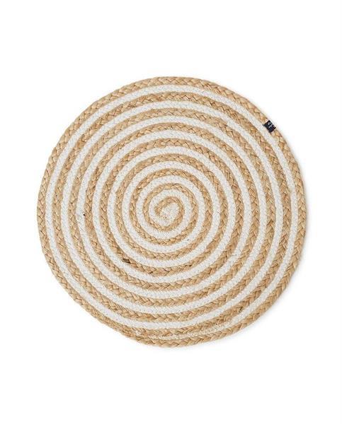 Lexington Round Cotton/Jute Placemat Beige/White
