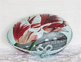 Påskägg delbart 18cm, Rembrant-tulpan