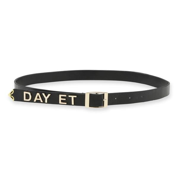 Day Golden Logo Leather Belt, Black