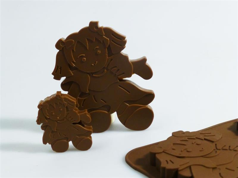 Silikonform sjokolade Dukke 6+1