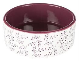 Keramikskål 0,8L, vit/berry