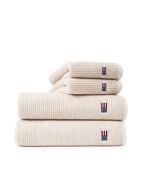 Lexington Original Towel White/Tan Striped, 30 x 50 cm