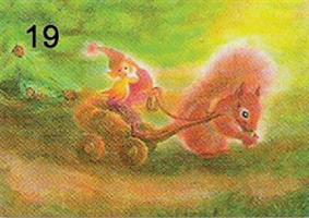 Tonttu oravan kyydissä-kortti