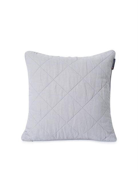 Lexington Quilted Linen/Viscose Pillow Cover, Gray