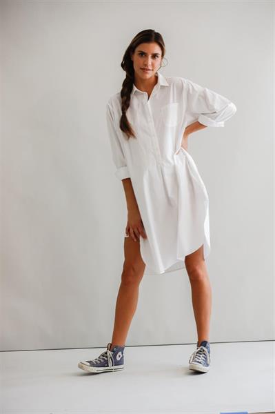 Blue Fortuna Shirt Dress, White