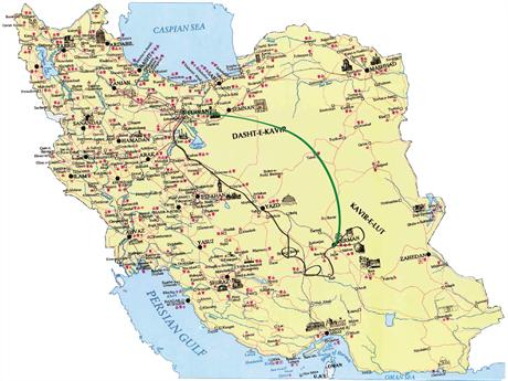 En av reiserutene i Iran