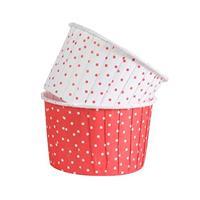 Muffinsform M 24 stk, Rød/Hvit m/prikker
