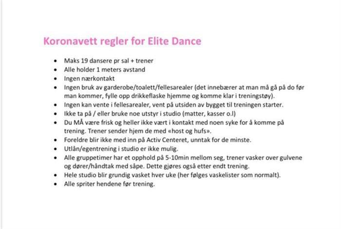 KORONAVETT-REGLER FOR ELITE DANCE