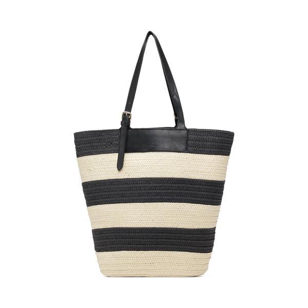 Day Blocked Straw Bag, Black