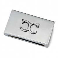 Classic Collection Match Box Case Monogram, Nickelplated Brass