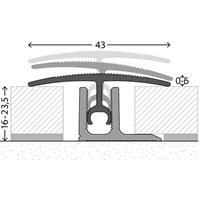 Övergångslist 0-6 mm / 16-23,5 mm 2700 mm alu silver