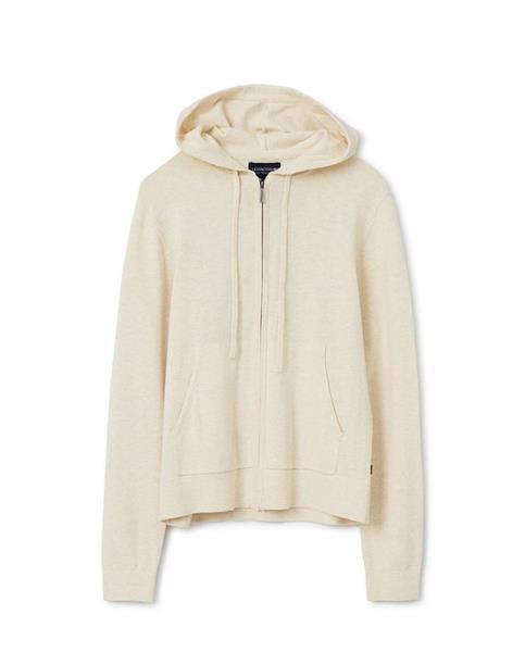 Lexington June Organic Cotton/Tencel Knitted Zip Hoodie, Light Beige Melange
