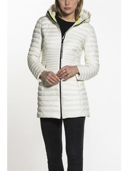 Beaumont Hooded Long Down Jacket, Offwhite
