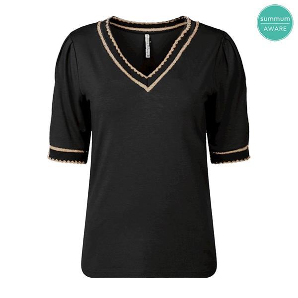 Summum Woman Top v-Neck Viscose Luxury, Black