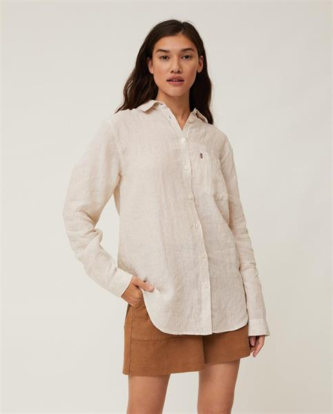 Lexington Isa Linen Shirt, Beige White Stripe