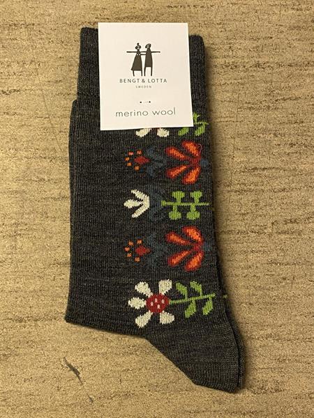 Cai strumpa i merinoull Monica mörkgrå st.35-39