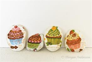 Dekorstenar vita, cup-cakes
