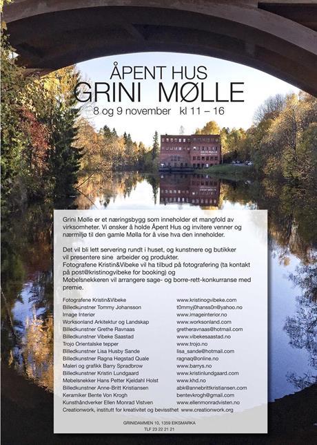 Åpent hus på Grini Mølle 4. - 5. november