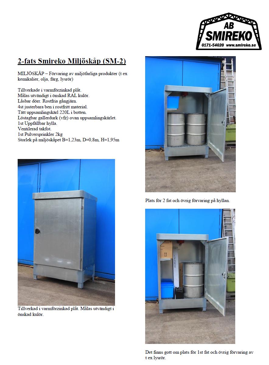 MS2 - Smireko Miljöskåp med plats för 2fats