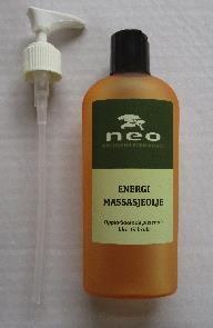 Energi massasjeolje 250ml leveres med ekstra pumpe