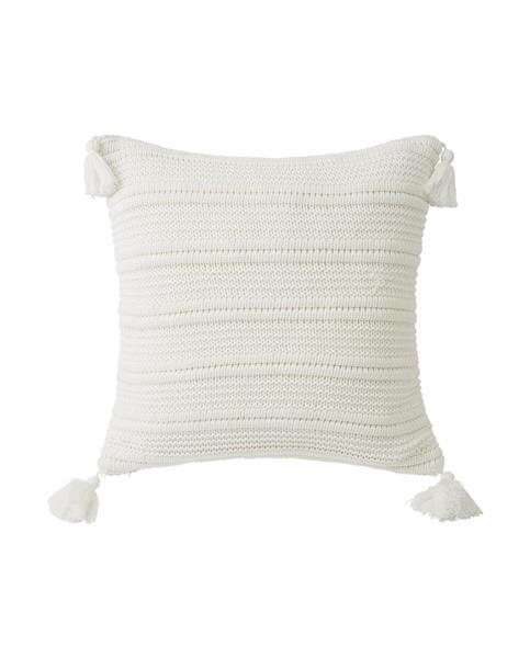 Lexington Knitted Tassel Sham, White
