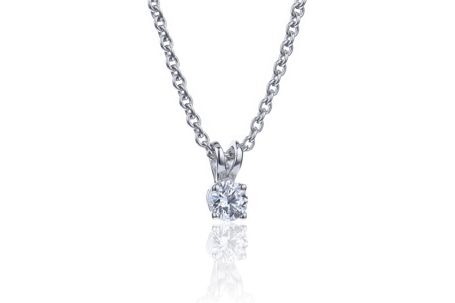 Enstens hvitt gull anheng med diamant, Juvelér MSJ