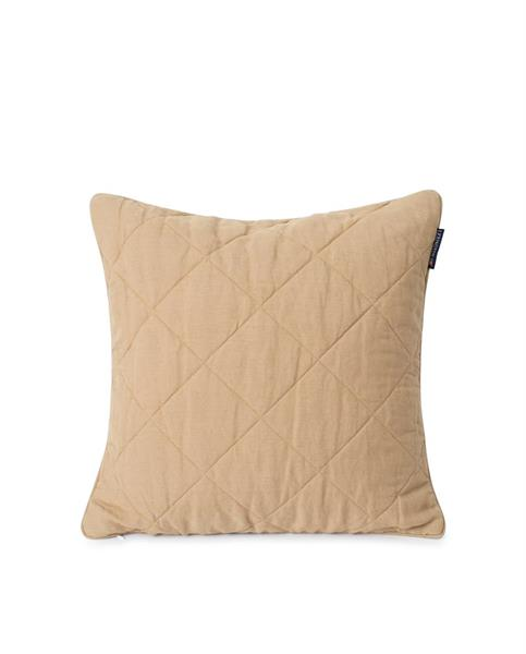 Lexington Quilted Linen/Viscose Pillow Cover, Beige