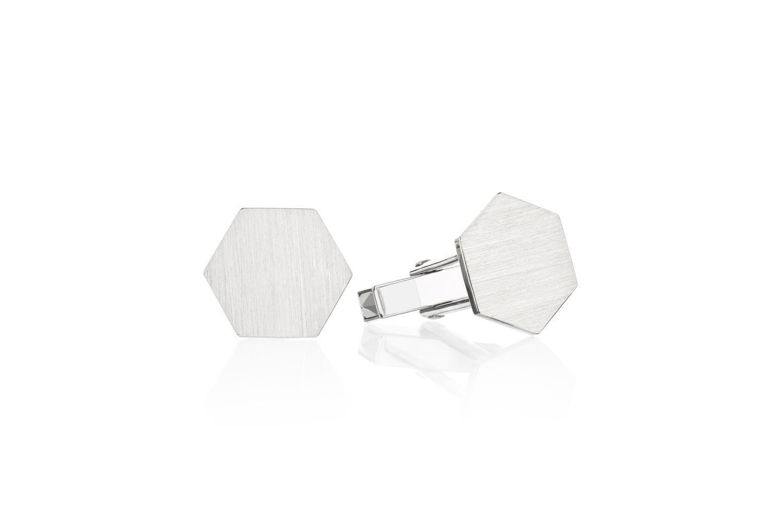 Heksagon mansjettknapper i sølv