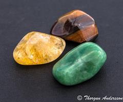 3 trumlade stenar, citrin oxöga aventurin