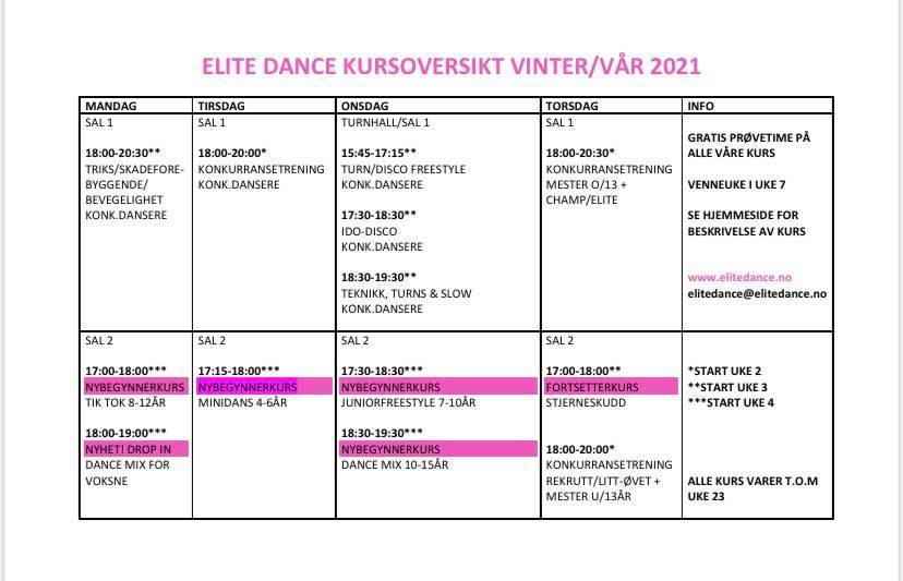 Timeplan Elite Dance
