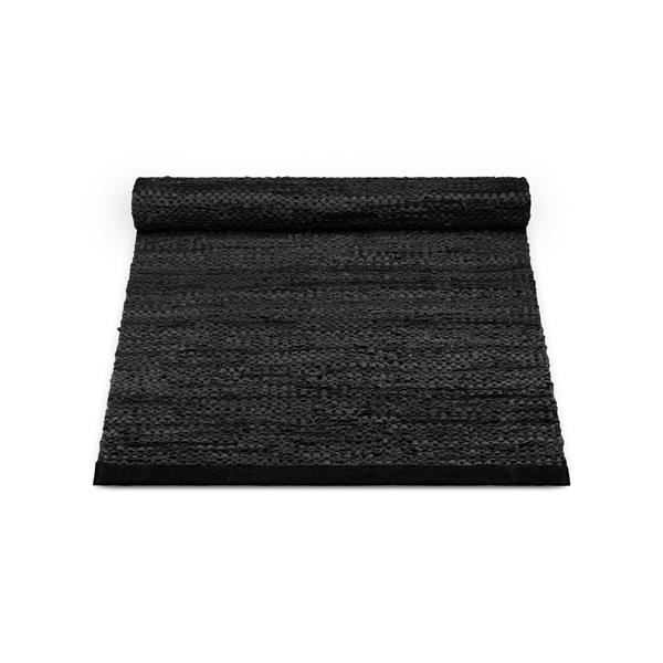 Rug Solid Nahkamatto, Musta 75 x 200 cm
