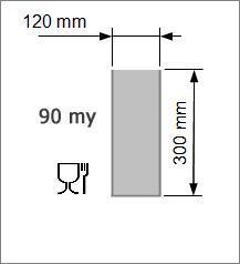 Vakuumpåse 120 x 300 mm, 90 my