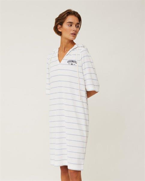 Lexington Petra Terry Dress, Offwhite/Light Blue Stripe