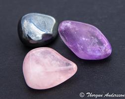 3 trumlade stenar, ametist rosenkvarts hematit