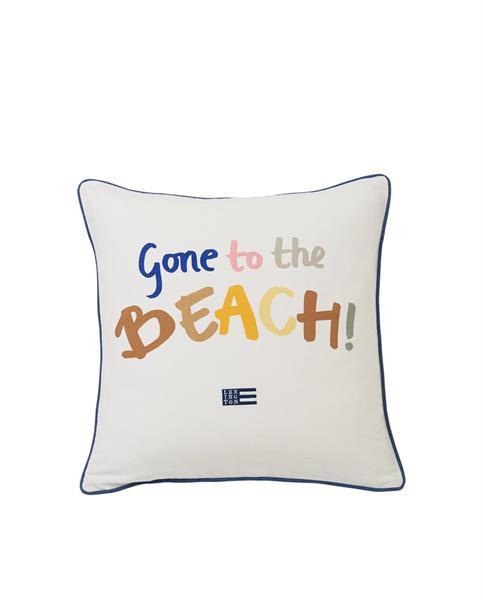 Lexington Gone To The Beach Cotton Pillow Cover, White