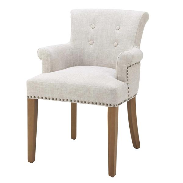 Eichholtz Dining Chair Key Largo with Arm, Off-White/Linen