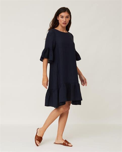 Lexington Camille Linen Dress, Dark Blue